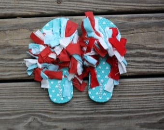 Blue Hearts Pattern Size 12-13 Kid's | Flip Flops | Shaggy Shoes | Unique and one of a kind!