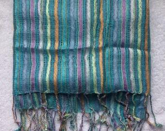 Turquoise & Pastel Cord-style Fringed Scarf