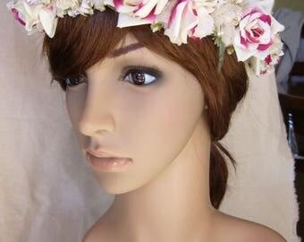 Pink variegated Fuchsia/ivory wedding Crown headband