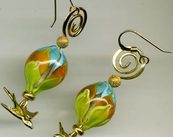 """Earrings 14KT gold plated - """"the swallow is spring"""""""