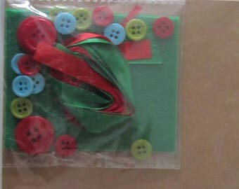 Kit for making two cards - felt, buttons and ribbons