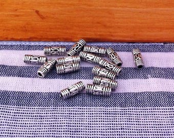 20 thin antique column shape, antique silver spacer beads