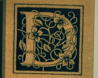 Wood stamp - letter D