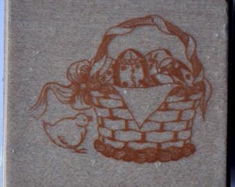 Wood - basket, egg, Chick - Easter stamps