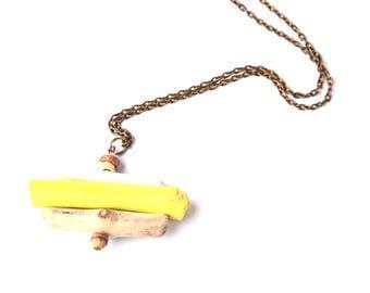 Ethnic necklace Zen drift wood