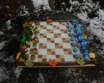Fairy chessboard-Imp figurine chess game- Of the earth to the sky chessboard- Elf figurine earth- Pixie figurine sky- Figurines chessboard