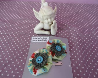 Barrettes Click - Clack silver metal and green and colorful fabric yoyo flower
