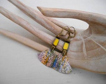 Earrings ethnic Bohemian yellow iris flowers