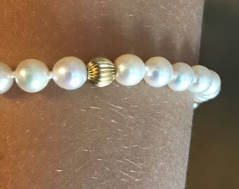 14k Pearl and Gold Bead Bracelet