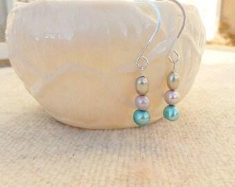 Fresh Water Pearl Earrings, Pearl Drops, Dangle Earrings, Blue Pink Green Pearls, Silver Earrings