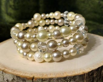 Pearl and White Beaded Bracelet
