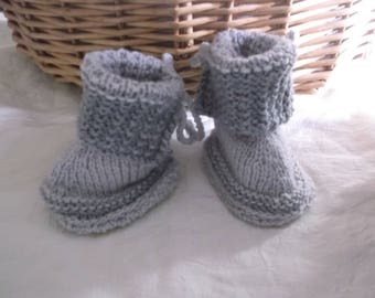 Baby booties hand knitted