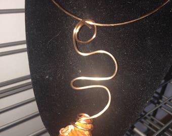 Unique Copper Necklace w/ Raw Stone