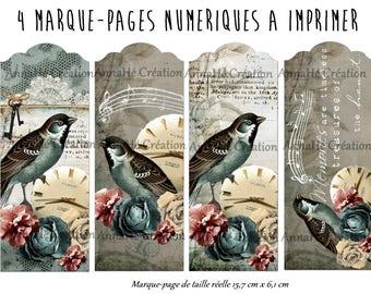 """4 bookmarks to print """"Birdlove"""", poetic and bucolic spirit"""
