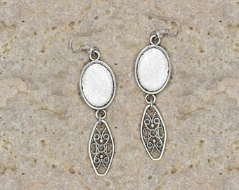 support cabochon 13 X 18 mm hoop earrings