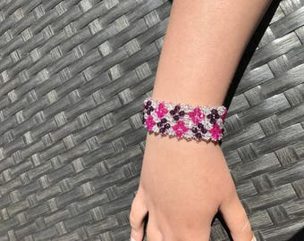 Fuchsia, Burgundy and white Swarovski Crystal bracelet
