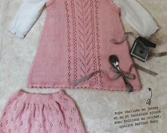 Dress and panties fuchsia cotton phildar