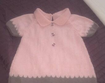 Pink dress and chocolate milk pattern phildar