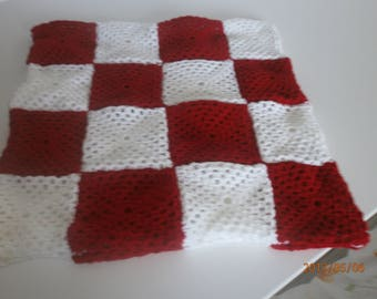 retro red and white pillow cover