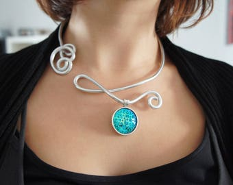 Necklace wire - with blue nature...