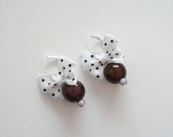 Earrings chocolate and white - Minny