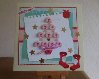 greeting card with tree and hearts