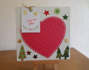 greeting card with big red heart, trees and stars