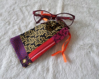 glasses case made with a patchwork style cotton fabric