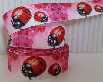 1 meter of Gros Grain Ladybug Ribbon