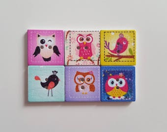 Set of 10 wooden squares pattern bird buttons