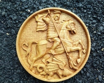 Saint George and the Dragon 3D Art Orthodox Wood Carved Icon 190mm/7.5'