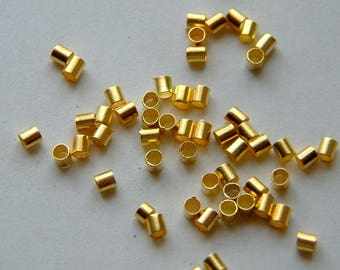500 beads 2 mm crimp gold.