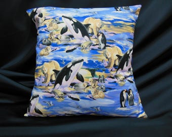 Arctic animals Cushion cover, killer whale, polar bear, seal, Penguin (C219)