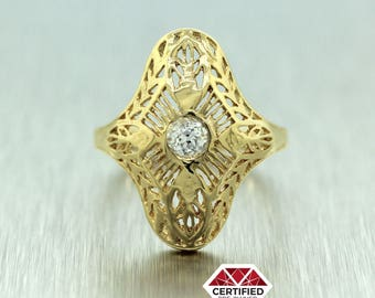 Antique Art Deco 14k Yellow Gold 0.27ct Diamond Filigree Ring EGL 930