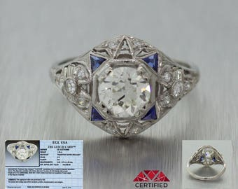 EGL Antique Art Deco Platinum 1.40ctw G H VS1 Diamond Sapphire Engagement Ring