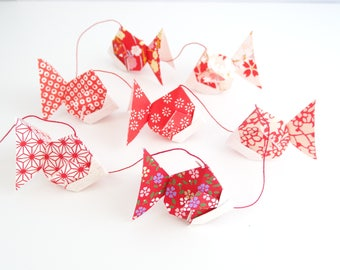Origami fish red Japanese paper Garland