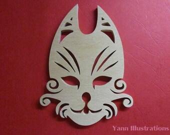 Fretwork mask cat sculpture