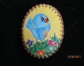 Two Hand Painted Brooches/Pins