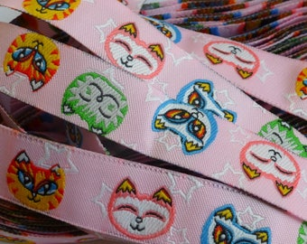 "4 m fancy woven Ribbon ""cats"" pink 16mm bottom"