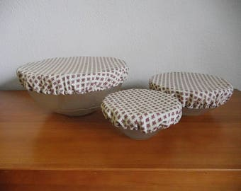 Set of three fabric, washable and reusable Bowl covers