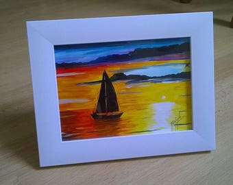Small painting, sunset, frame, boat, sea, acrylic painting, Home Decor Wall Art, acrylic, painting, small, gift