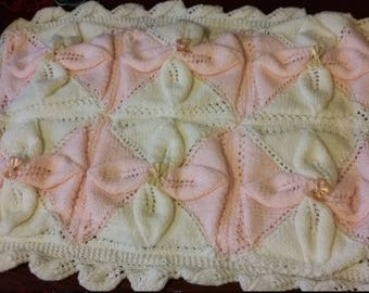 Handmade knitted Pink and White Baby Pram, Carseat cover, blanket, throw, wrap,