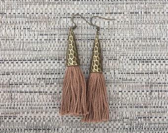 Dusty Mauve Boho Tassel Earrings