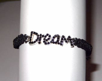 Macrame bracelet black wire and Dream charm with Rhinestones multitude