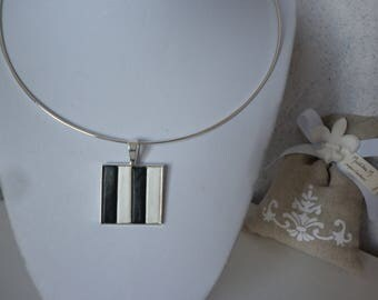 Black and white leather straps and square pendant necklace