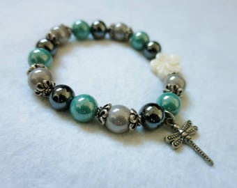 """Flower and turquoise Dragonfly"" bracelet"