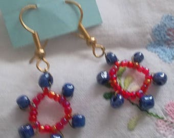 Gears, red and blue earrings