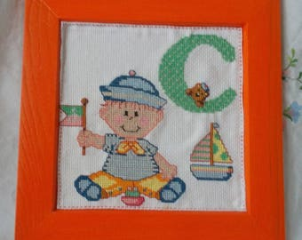 Wood frame with ABC baby embroidered C