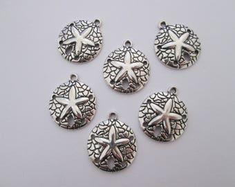 6 breloques cercle étoile de mer 24 x 20 mm en métal argenté