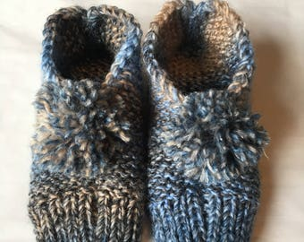 Handmade knitted slippers